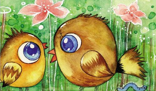 松鼠妈妈用自己的尾巴给小松鼠撑起一把大伞.   老鹰来了!
